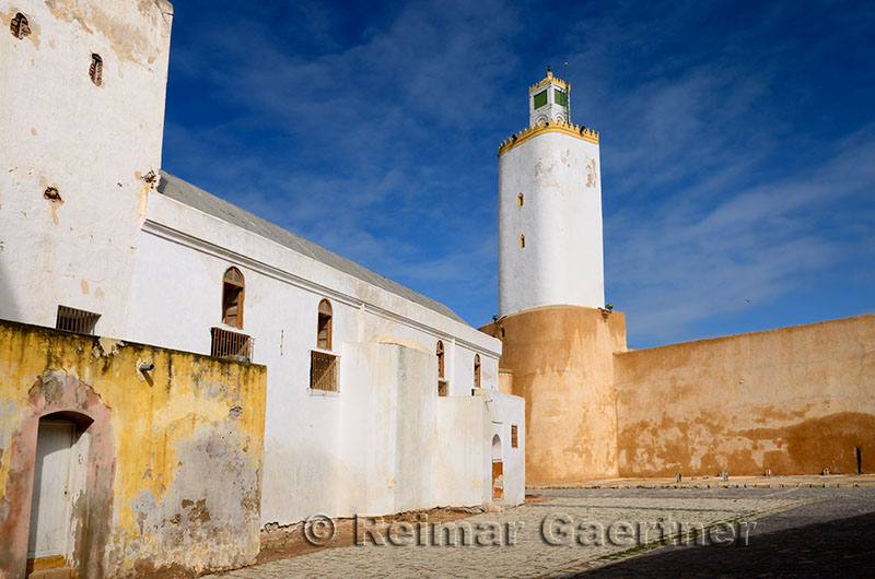 Cobblestone courtyard of the Grand Mosque Old Portuguese city El Jadida Morocco