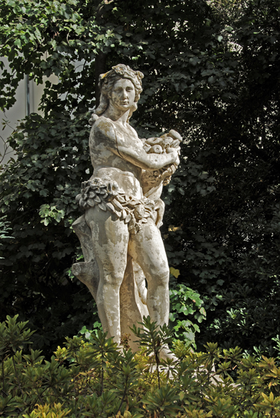 One of several statues in the gardens.