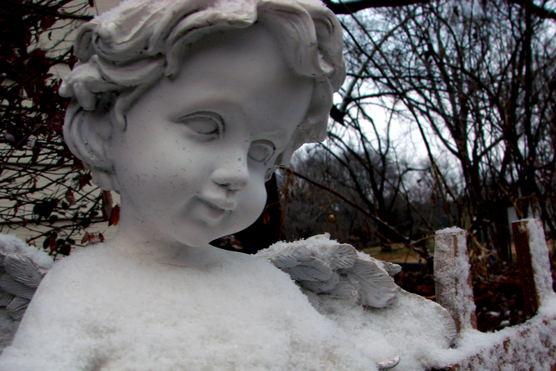Cherub in winter