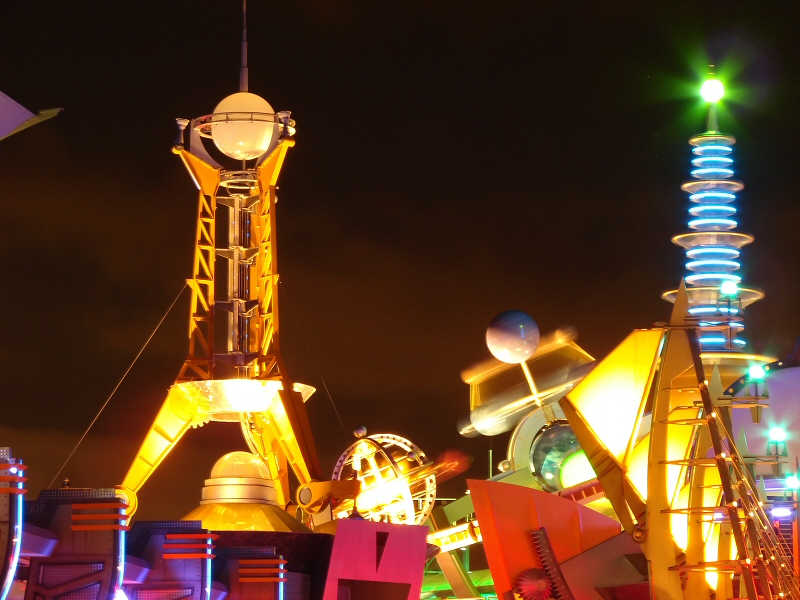 Neon details at night in Tomorrowland