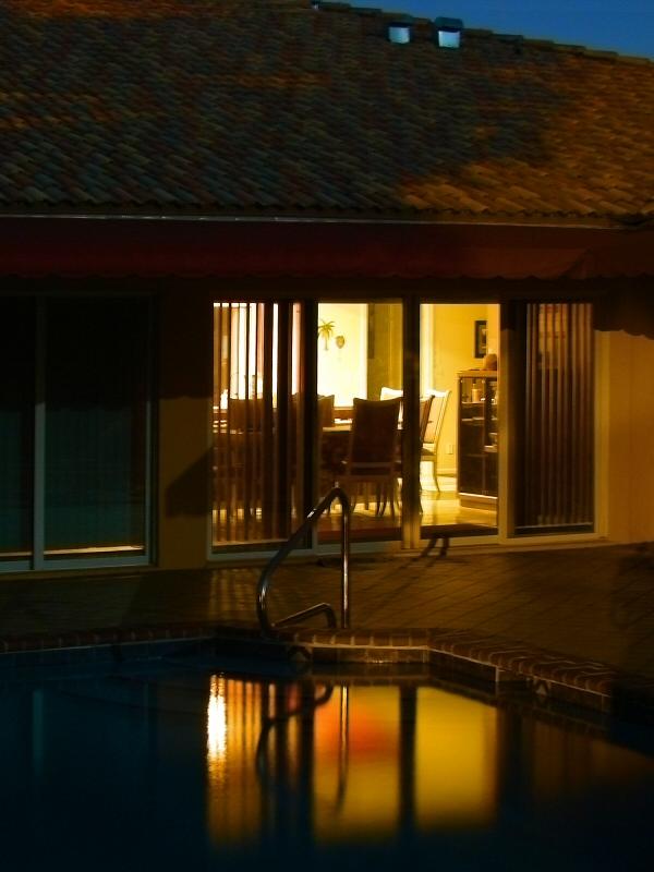 Pool reflecting houselights