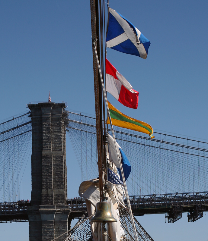 Brooklyn Bridge from the deck of the USCG Barque Eagle (WIX-327)