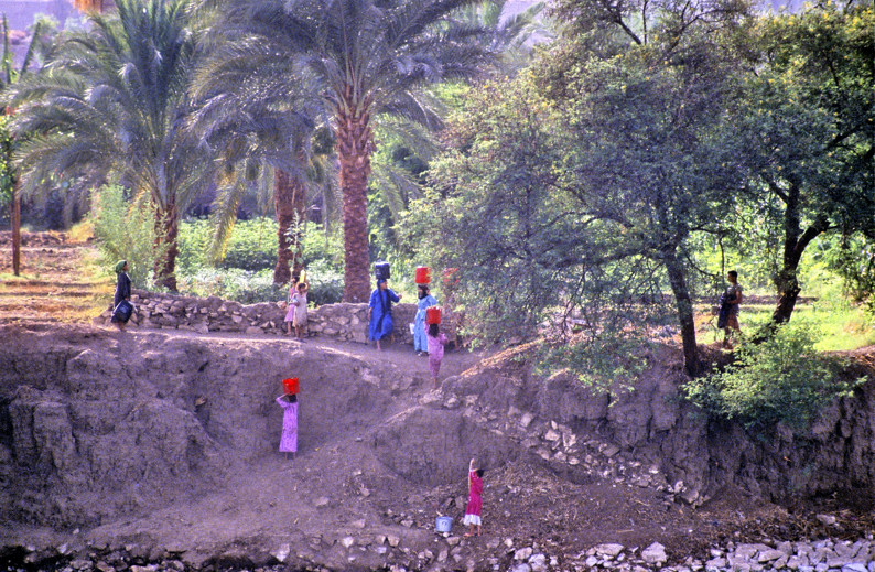 Women and Children Working Peacefully on the Borders of the Nile