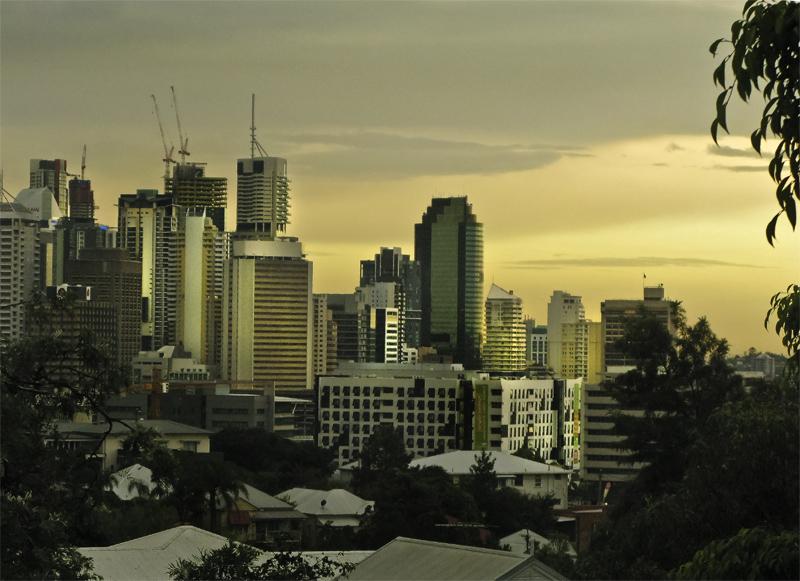 Brisbane in pre-storm light.