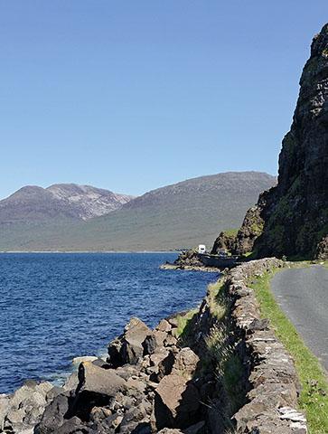 Narrow road beside Loch Scridain