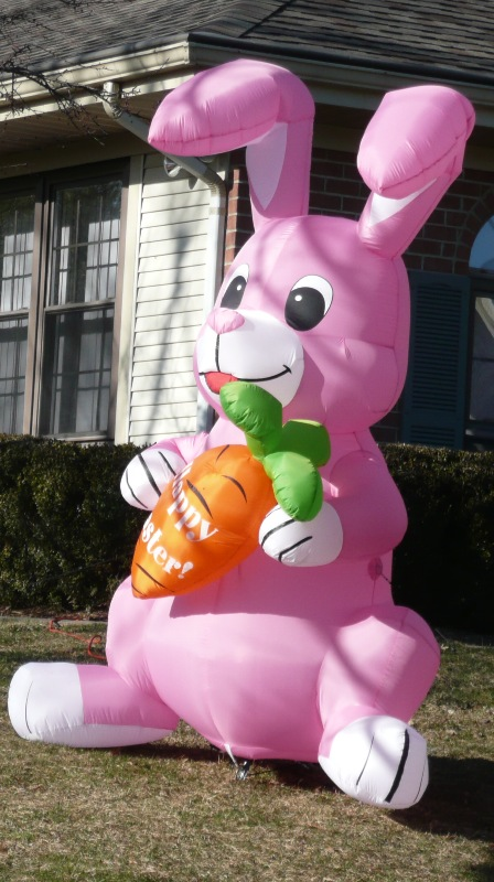 Big Pink Blow Up Easter Bunny