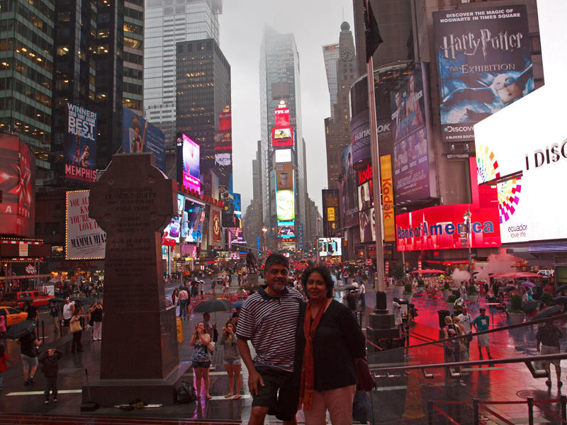 At Times Square on a rainy day