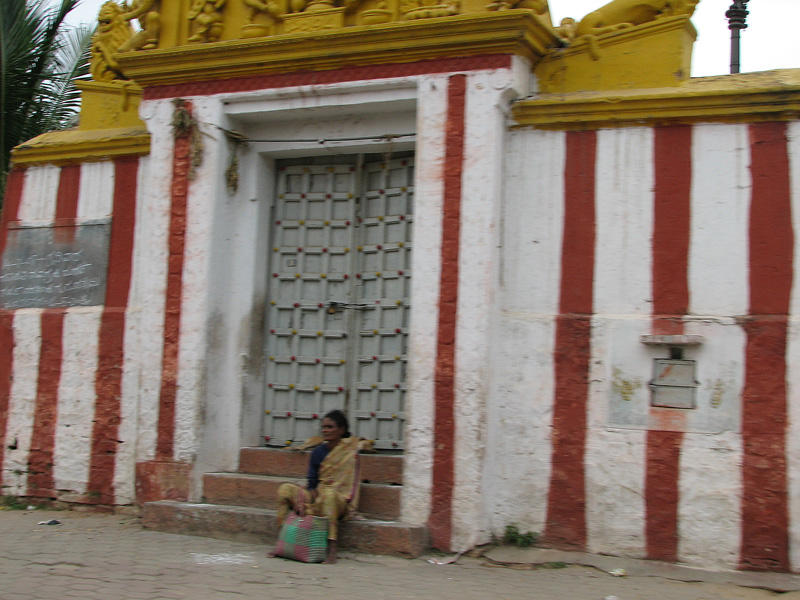 Resting in front of the temple