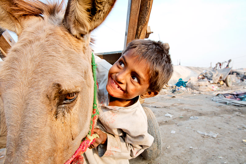 Boy and his donkey - Lahore