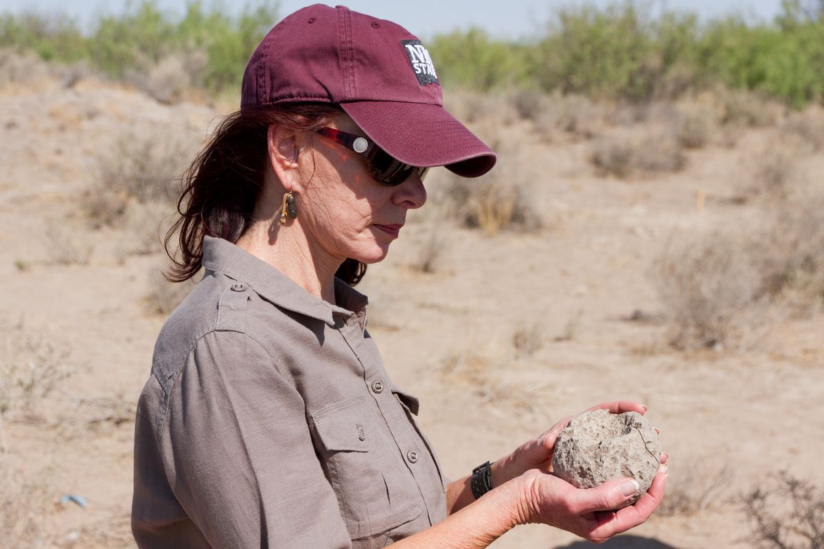 Dr. Christa Slaton, Dean of Arts and Sciences, visiting the Archaeology field school