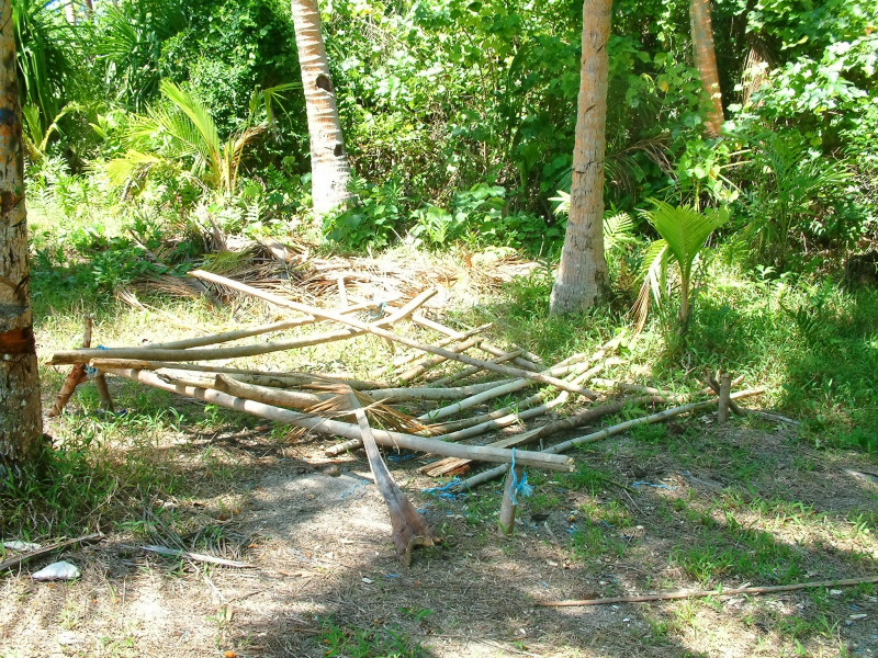 Remnants of a shelter from a Suvivor show filmed on Euakafa Island in 2005