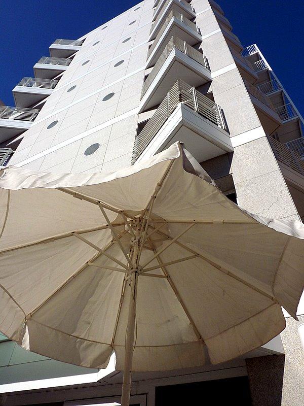white umbrella from under