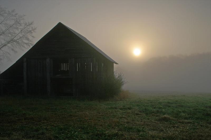 Old Barn in Fog