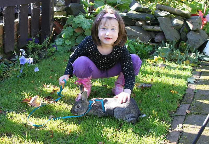 Eileen with Fiver the rabbit