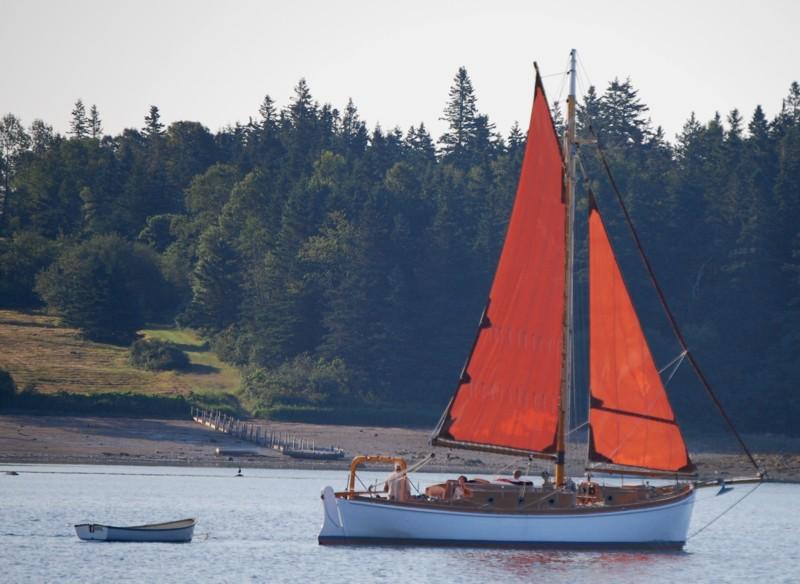 Gaff-rigged Sloop Sailing Out