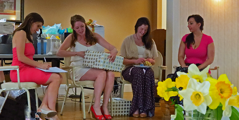 Opening the beautiful gifts!