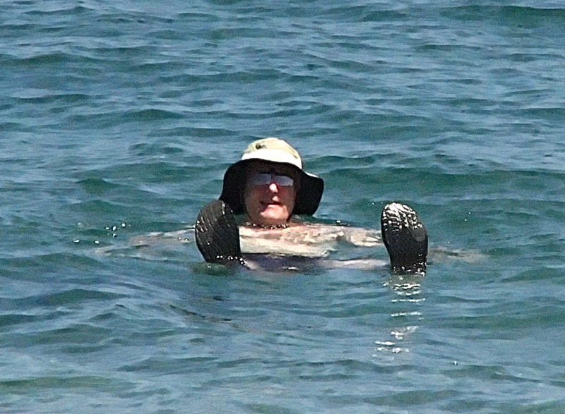 Peter floating in the Mediterranean