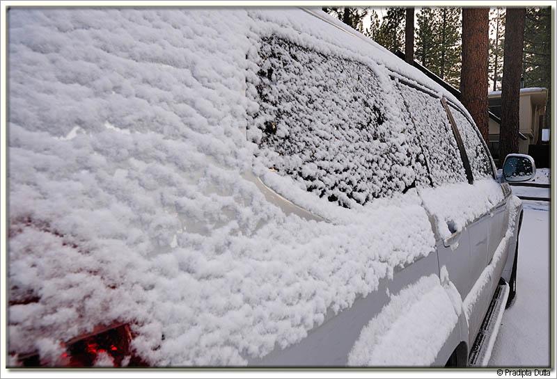 Snow flakes on the car