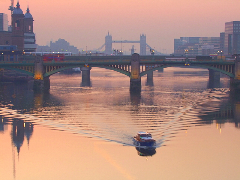 Dawn light on the River Thames in London