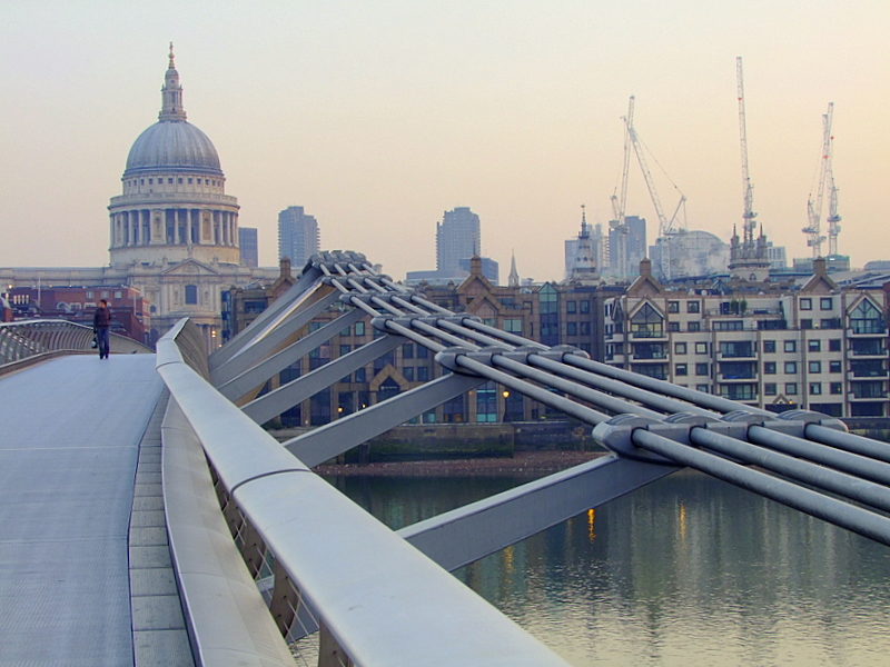 St.Pauls Cathedral from the Millenium Bridge at dawn