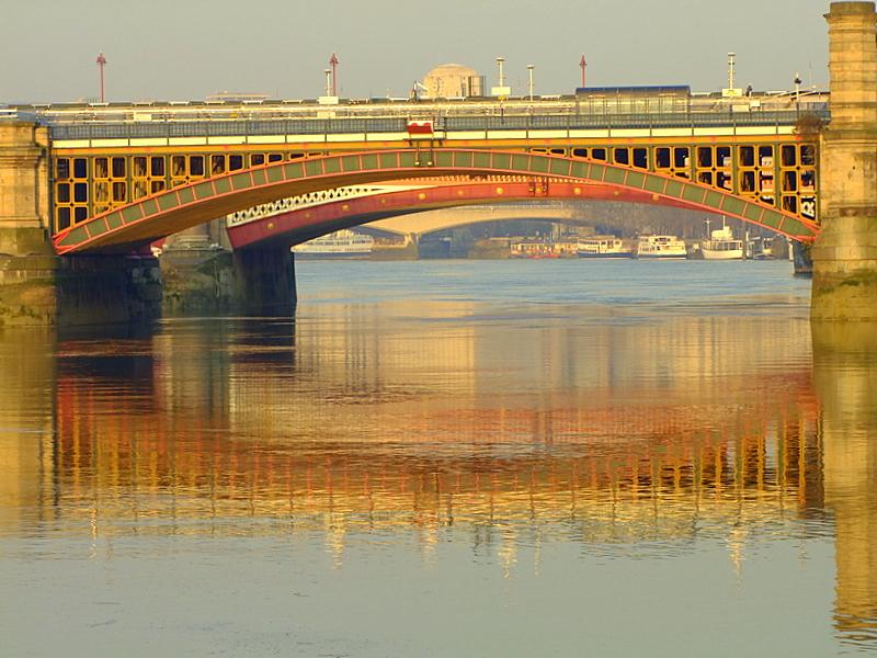 Blackfriars Railway Bridge reflected