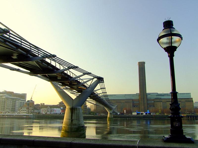 Millenium Bridge leading to The Globe Theatre and Bankside