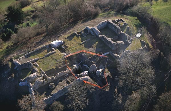 Dolforwyn Castle,during excavation and renovation.