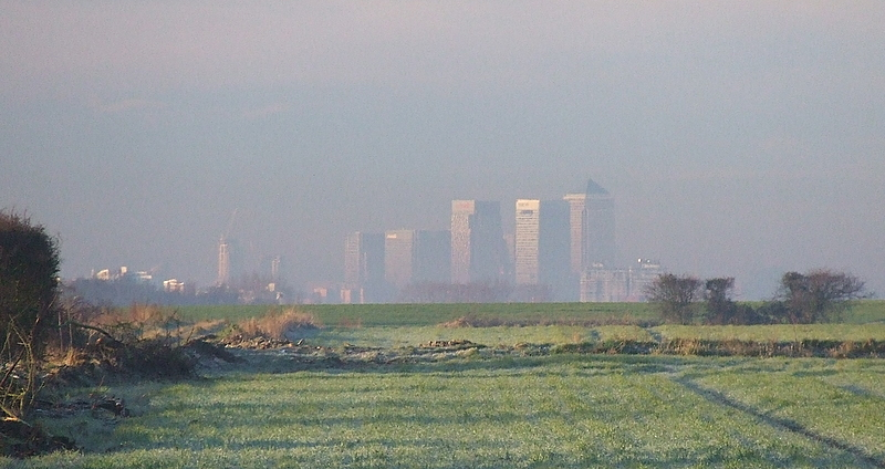 Canary Wharf on a frosty morning.