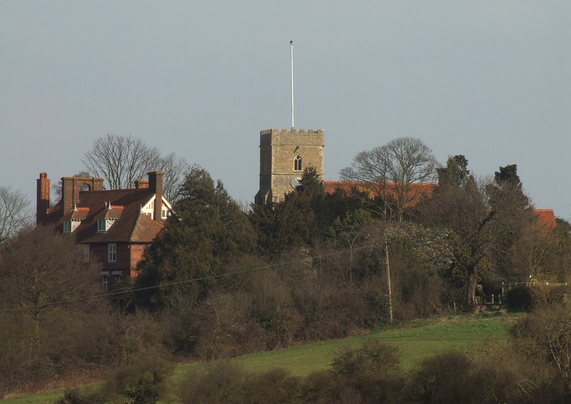 All Saints Church in its hilltop location.