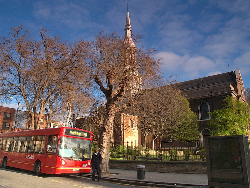 Bus Number 78 on stand next to Shoreditch Church.