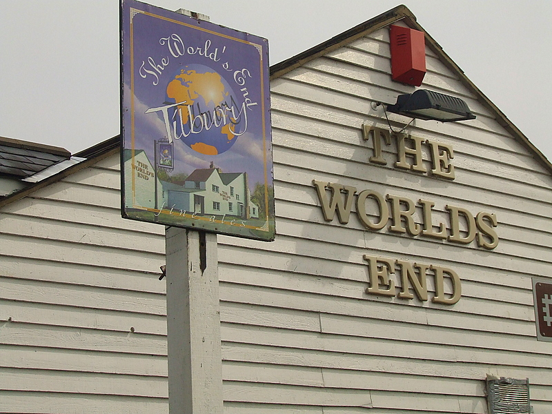 The signs for The Worlds End pub,Tilbury.