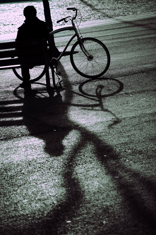 un banco, una bici, un libro.