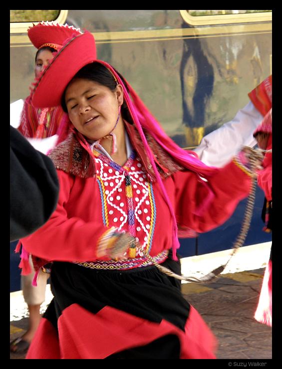 Dancer at Hiram Bingham Train at Cusco