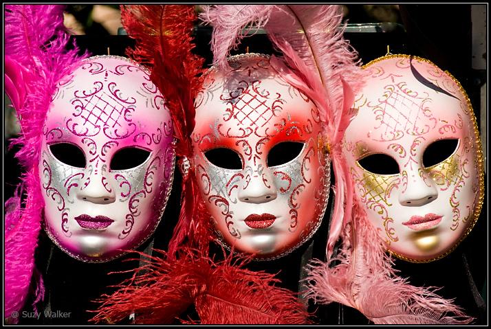 Three empty masks