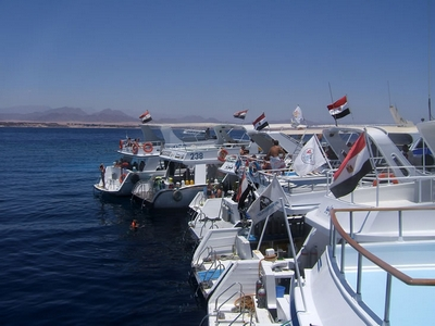 Other dive boats moored together, Sharm 2005