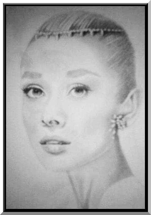 Drawing Audrey Hepburn.