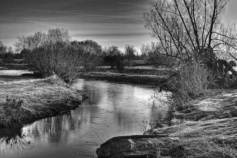 Black And White Sunrise  On The Creek