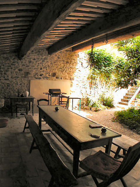 shady terrace with gaz bbq