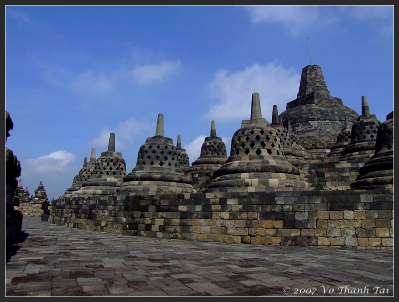 Central and smaller stupas