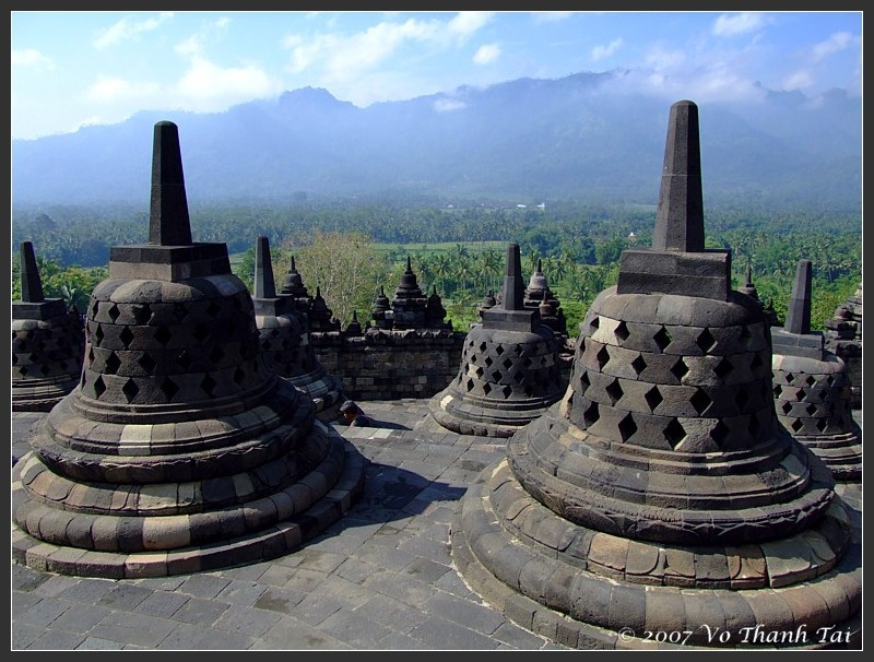 Stupas and view from plateau