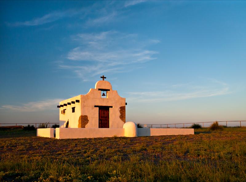 Chapel at sunrise, Marfa, Texas