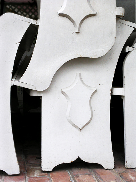 Stacked pews, Jefferson, Texas