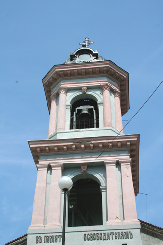 The bell tower of the Virgin Mary Cathedral.