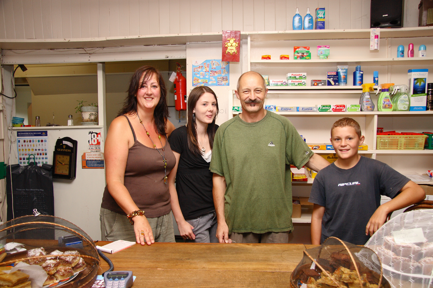 Huia Store, from left:Mandy, Grace, David & Oliver