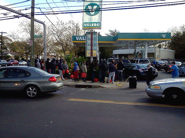 Panic buying gas on Long Island