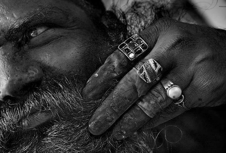 hand and beard