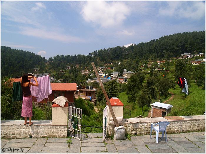 Tamar hanging the laundry in Dhramsala..