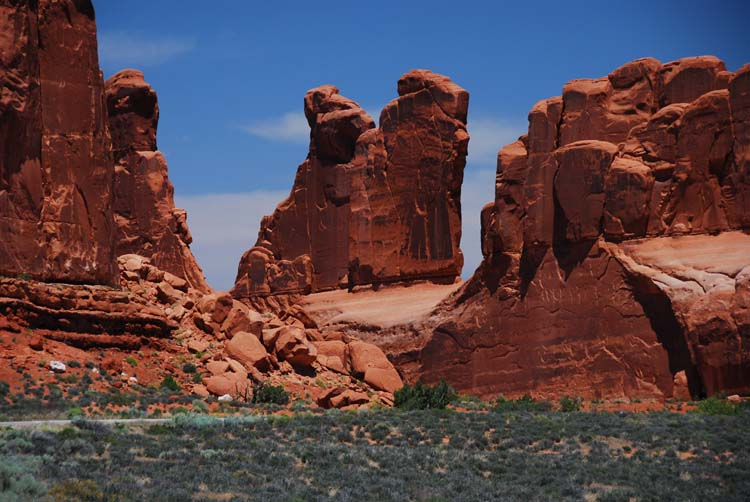 Notice the Road at the Base of the Formation - for an Idea of the Height of these Rock Walls