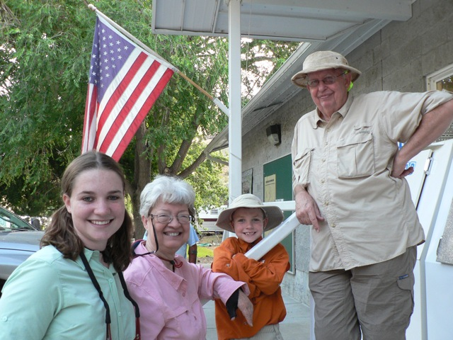 Victoria (left) and Cole were on this trip with their grandparents