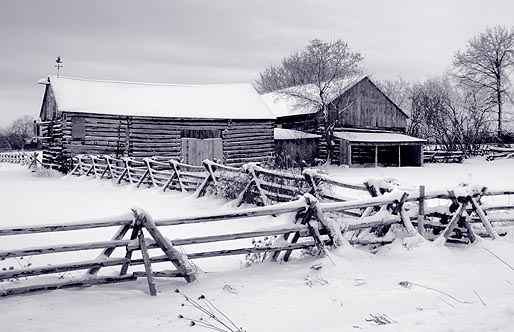 Log Barn In Snow 20100102